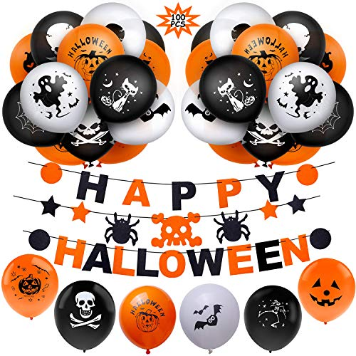BESTZY Halloween Party Ballons 100PCS Halloween Luftballons Banner kit Dekoration Kürbis Folienballons Geist Latex Ballon für geeignet-Grusel-Horror-Party-Deko(Weiße & Orange & Schwarz )