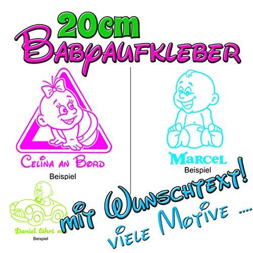 Babyaufkleber Kinderaufkleber On Board Sticker mit Wunschtext in 20cm Größe - viele Farben und Motive!