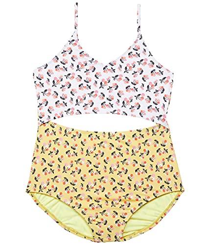 Hobie Girls' Cut Out X-Back 1PC, Lemon, 16