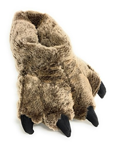 Wild Ones Furry Animal Claw Slippers for Toddlers, Kids and Adults (Medium Mens 6 to 8 ½, Brown...