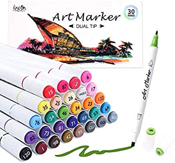 30-Count Lineon Dual Tip Alcohol Based Art Markers