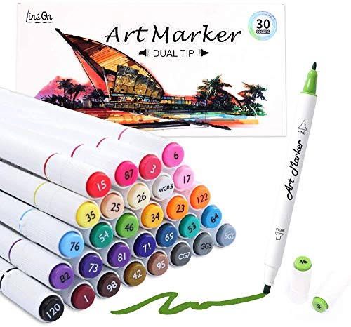 Dual Tip Alcohol Based Art Markers, Lineon 30 Colors Alcohol Marker Pens Perfect for Kids Adult Coloring Books Sketching and Card Making