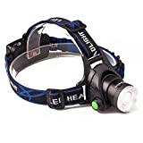 Akaho XML T6 Zoomable 3 Modes Bright LED Headlight with Rechargeable 18650 Battery and USB Cable