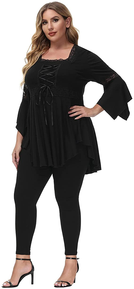 Steampunk Plus Size Clothing & Costumes Womens Renaissance Corset Dressy Tops Gothic Lace up Victorian Cosplay Plus Size Blouse  AT vintagedancer.com