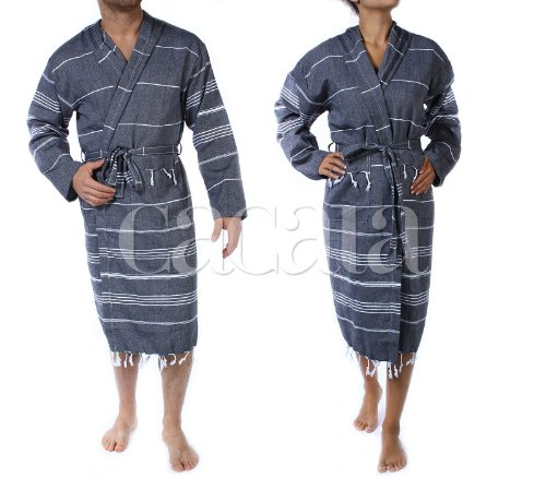 Cacala Hooded Bathrobe Pestemal Fabric 100% Turkish Cotton Kimono Unisex Black