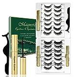 Ciglia Magnetiche con eyeliner, 14 paia di ciglia finte con 3 eyeliner, impermeabile e a prova di sbavature, ciglia artificiali naturali, kit di estensione delle ciglia riutilizzabili (A)