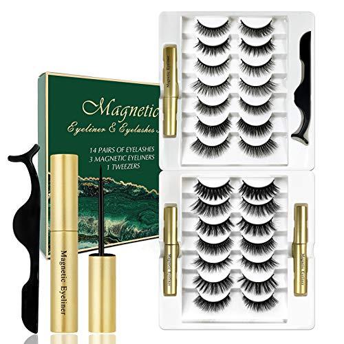 Magnetische Wimpern 3D-Magnet Falsche Wimpern Set Eyeliner Künstliche magnetische Wimpern Wiederverwendbare lange Dicke, um Make-up-Wimpern aus 14 Paaren natürlicher Wimpern zu verlängern(A)