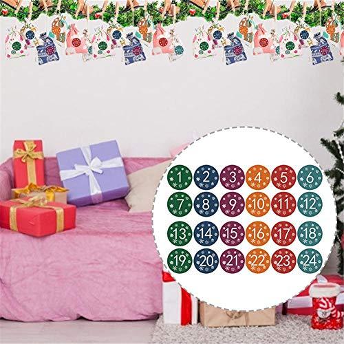 Adventskalender Geschenktüten, Weihnachtsbaumschmuck, Adventstüten Mit Kordelzug, 24 Tage Countdown Leinwand Geschenktüte Für Kinder, 24 Clips, 10 M Bindfaden Und Eine Reihe Von Etiketten
