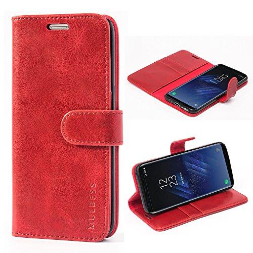 Mulbess Handyhülle für Samsung Galaxy S8 Hülle Leder, Samsung Galaxy S8 Handy Hüllen, Vintage Flip Handytasche Schutzhülle für Samsung Galaxy S8 Case, Wein Rot