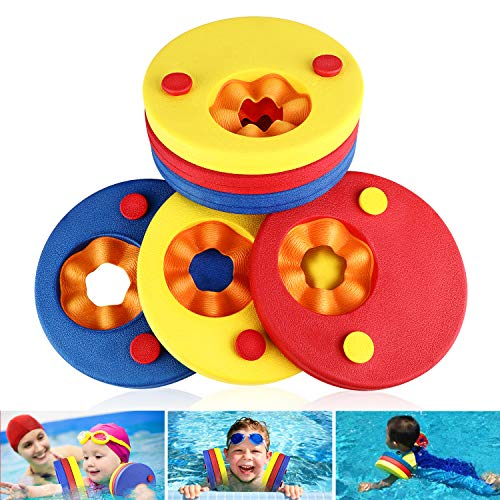 Flotador de brazos para niños, flotadores de espuma de 6 piezas Discos para niños Bandas de brazo flotante para nadar Establecer flotación aprender a nadar