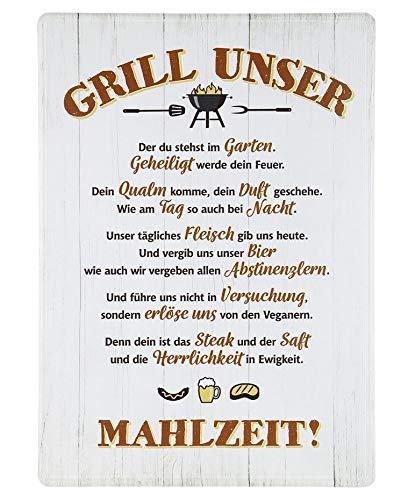 Rostalgie Metall Schild -Grill Unser- 42 x 30 cm Garten Dekoration Tafel Sprüche Geschenk