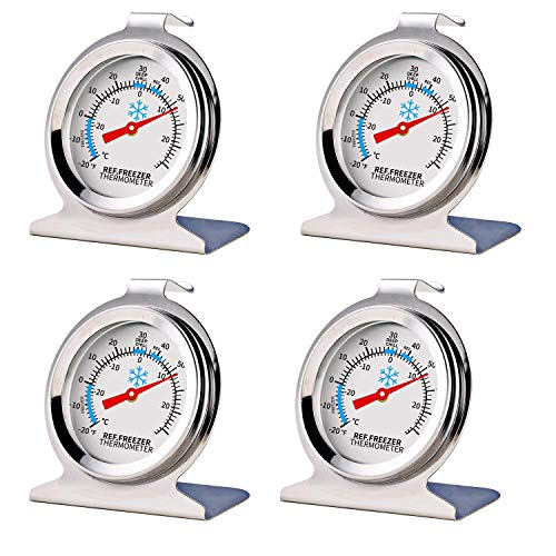 4 Pack Stainless Steel Refrigerator Freezer Thermometer Large Dial Thermometer With Instant Read