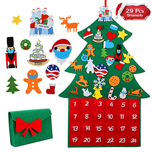 Glemme DIY Felt Christmas Tree Advent Calendar 2020 for Kids, Christmas Countdown Calendar DIY Christmas Tree with 29pcs Detachable Ornaments, Xmas Gifts Wall Door Hanging Home Decoration