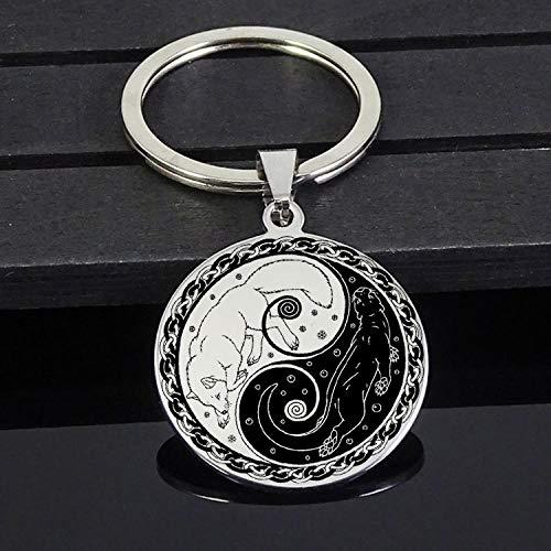 Roestvrij stalen sieraden Yin Yang Fox en Otter keychain mannen directe verzending goedgekeurd