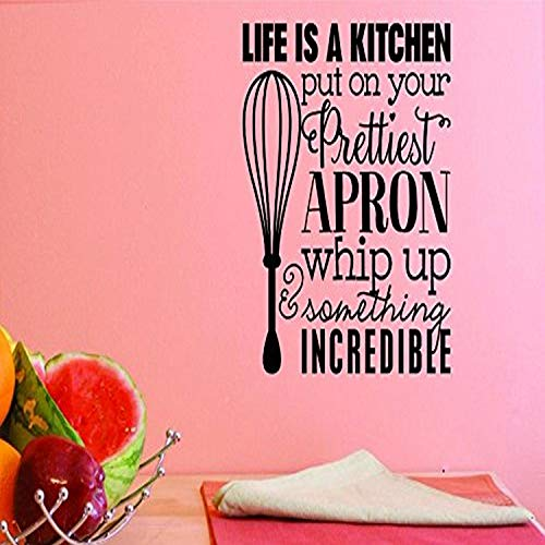 Design with Vinyl Top Selling Decals Life is A Kitchen Put On Your Prettiest Apron Whip Up Something Incredible Wall Art, 12  x 12 , Black