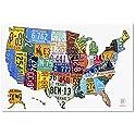 """Trademark Fine Art License Plate Map XXL 47"""" x 30"""" Canvas Wall Art"""
