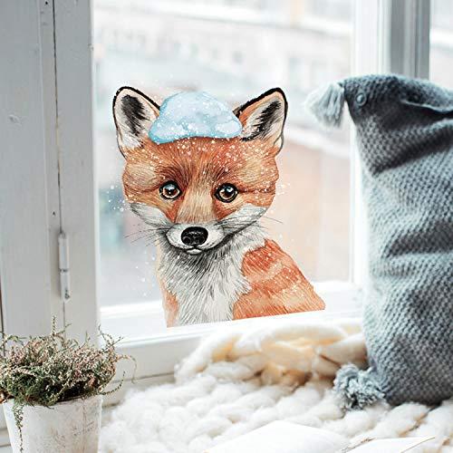 ilka parey wandtattoo-welt Fensterbild Fuchs mit Schnee -WIEDERVERWENDBAR- Fensterdeko Winterdeko Fensterbilder bf10