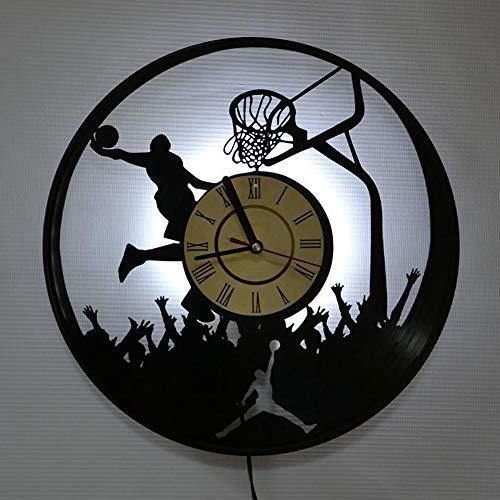 LittleNUM Vinyl-LP Wanduhr Mute Wanduhr Kreative Wanduhr Basketball Sports Series LED Wanduhr Geschenke für Freunde, die wie Jordan,Led Light (Data Cable)