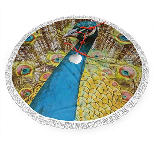 MSACRH Christmas Tree Skirt, Beautiful Peacocks Christmas Tree Mat with Tassel Lace for Holiday Party Christmas Halloween Decorations Indoor Outdoor