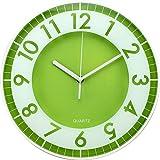 BUVU ZH09793D Reloj de Pared, Verde, 30 x 30 x 5 cm