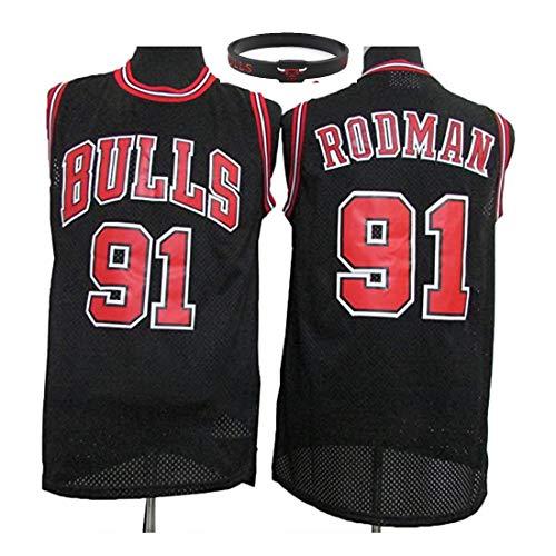 YUUY Camiseta de Baloncesto para Hombre Chicago Bulls, Dennis Rodman # 91 Camiseta de Manga Corta Bordada a Mano y de Secado rápido (Color : C, Size : XX-Large)