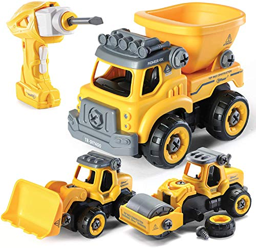 Take Apart Engineering Trucks with Carry Case Great Educational Gift Toys for Boys and Girls Age 3+ Assemble Toys with Play Mat Paochocky 6 in 1 DIY Construction Vehicles Toys Play Set