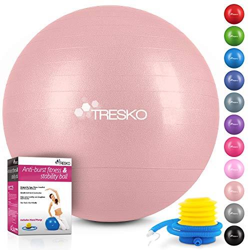 TRESKO® Pelota de Gimnasia Anti-Reventones | Bola de Yoga Pilates y Ejercicio | Balón para Sentarse | Balon de Ejercicio para Fitness | 300 kg | con Bomba de Aire (Rose Gold, 55cm)