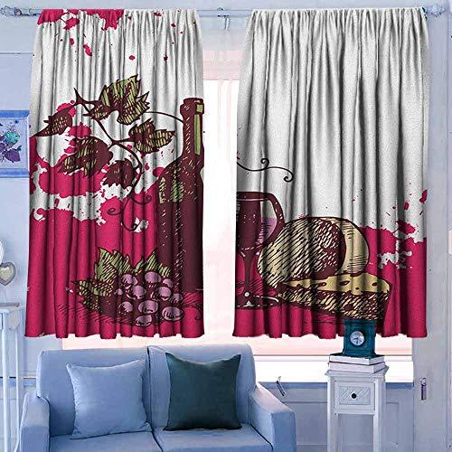 Lovii waterdichte venster gordijn verduisteringsgordijnen voor slaapkamer wijn rode wijn cabernet fles en glas kaas en druiven op houten planken afdrukken bruin Bourgondië crème