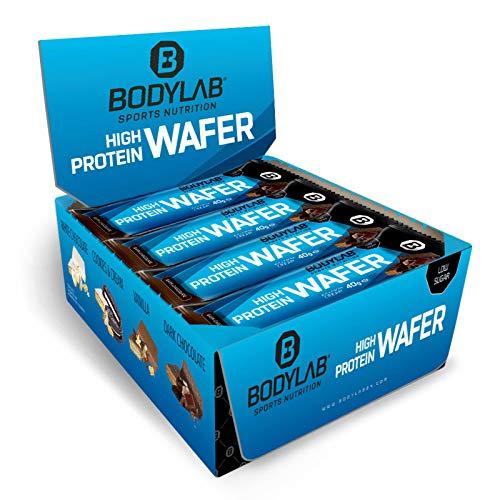 Bodylab24 High Protein Wafer 12x40g   Protein Waffel Snack   Lecker knuspriger Eiweißriegel   Schokolade