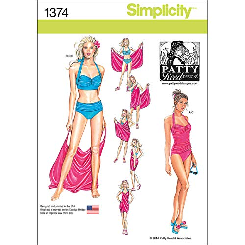 Simplicity 1374 Women's Vintage Two-Piece Bathing suit and Beach Cover Up Sewing Patterns by Patty Reed, Sizes16-24