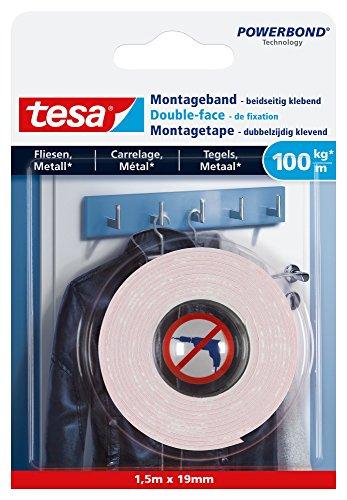 tesa Ultra starkes Montageband für Fliesen und Metall, 1,5m x 19mm
