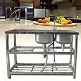 Commercial Restaurant Sink - Stainless Steel Utility Sink Free-standing Kitchen Sink Set Double Bowl Kitchen Sinks Commercial Pull Faucet Kitchen Sink & Faucet Combo with Strainer , 47Inch Rectangular