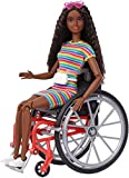 Barbie Fashionistas Doll #166, with Wheelchair & Crimped Brunette Hair Wearing Rainbow-Striped Dress, White Sneakers, Sunglasses & Fanny Pack, Toy for Kids 3 to 8 Years Old
