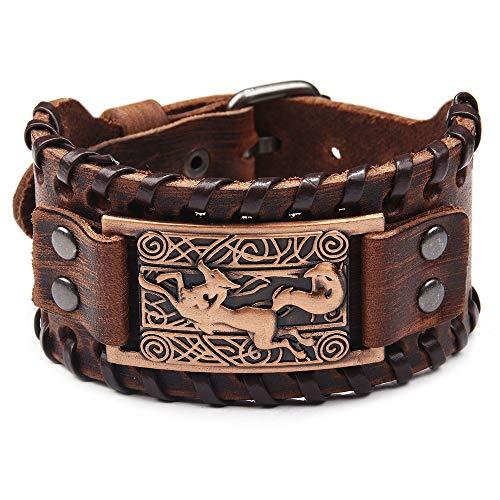 Pulsera de cuero marrón con nudo celta de zorro vikingo, brazalete irlandés, brazalete de cuero ancho estilo punk, pulsera de pulsera