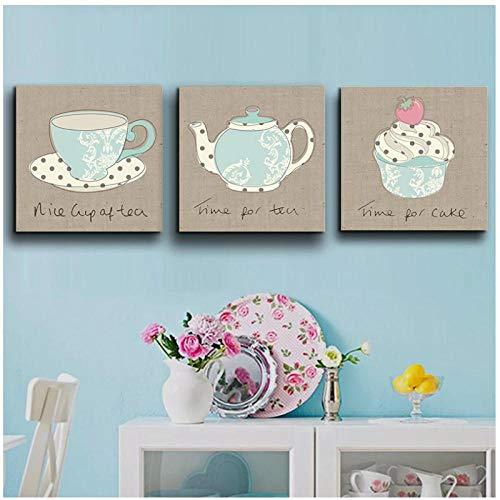 DLFALG Carteles e impresiones de la tetera de la taza de café de la vendimia Pintura de la lona Estilo nórdico Cocina Decoración de la habitación de los niños del bebé 40x40cmx3 Sin marco