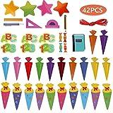 Faburo 42Pcs Schuleinführung Einschulung Deko Set Schule Bunte Zuckertüte Einschulung ABC 123 Buchstaben Sterne Aufkleber für Kinder Schulanfang Dekoration - 5