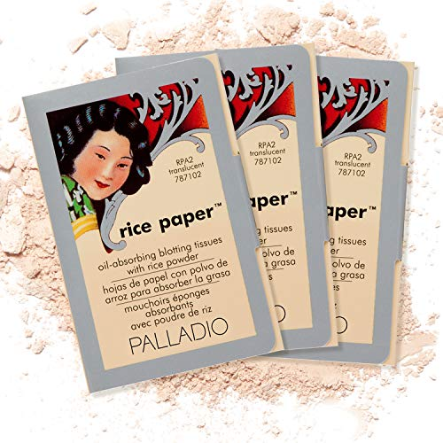Palladio Rice Paper Facial Tissues for Oily Skin, Face Blotting Sheets Made from Natural Rice, Oil Absorbing Paper with Rice Powder, 2 Sided, Instant Results, Translucent, 40 Count, Pack of 3