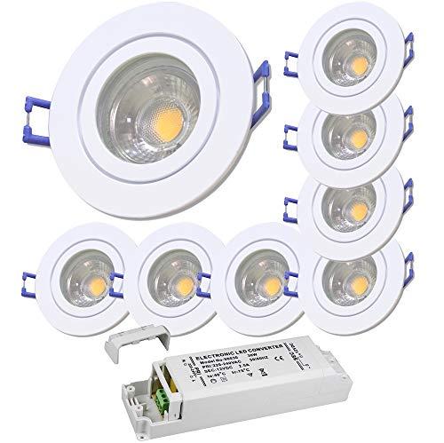 LED Bad Einbauleuchten 12V inkl. 8 x 3W LED LM Farbe Weiß IP44 LED Einbaustrahler Neptun Rund 3000K mit Trafo