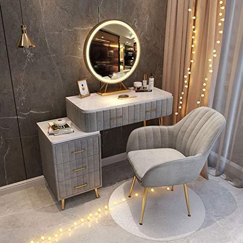 SHENXINCI Schminktisch mit LED HD-Spiegel Hocker und Spiegel, Kosmetiktisch mit 2 Schubladen und einem Nachttisch, Frisierkommode Spiegel Frisiertisch für Schlafzimmer, Rosa/grau