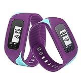 Siviki Run Step Watch Bracelet Pedometer Calorie Counter Digital LCD Walking Distance Bracelet Water-Resistant Digital Watch for Men Women Bracelet Watch (Purple)