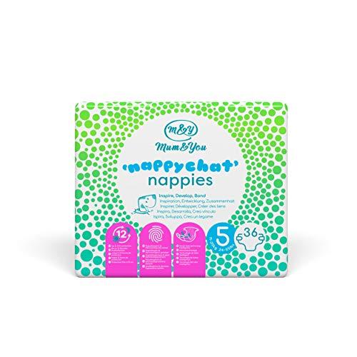 Mum & You Nappychat Öko-Windeln, Größe 5 (36 Windeln) mit Smart-Tube-Technologie für Extra-Auslaufschutz. Hypoallergen, dermatologisch getestet und ohne Lotion, Duft, Latex, Kleber und Farbstoffe.