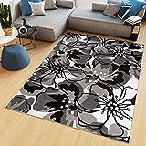TAPISO Maya - Alfombra Moderna para salón de Color Negro y Beige con Flores de Pelo Corto, 80 x 150 cm