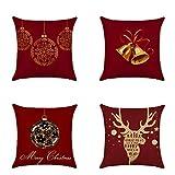 Heetey Weihnachten Home Decor, 4 Stück Christmas Elk Kissenbezug Dekorative Sofakissenbezug Home...