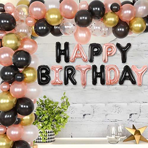Decoraciones cumpleaños de color rosa dorado y negro - Kit de guirnalda de arco de globos Banner de globos feliz para niñas, mujeres, 21, 40, 50, 60, suministros para fiesta de cumpleaños