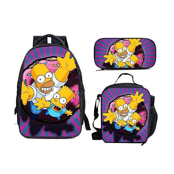 51ZGFnpFCfL. SS600  - The Si-mps-ons - Juego de mochila escolar con bolsas de almuerzo y estuche ligero para viaje para niños y niñas