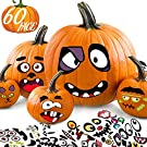 Pumpkin Decorating Halloween Stickers for Kids - Make 60 Funny Face and Classic Pumpkin Expressions Crafts, Holiday Decor Kit Party Best Gift for Kids - 12 Sheet