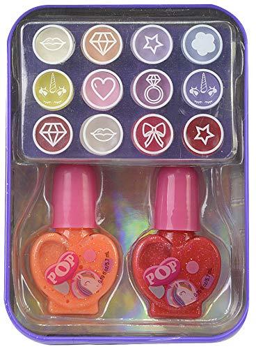 Markwins POP GIRL Color Tin Unicorn X12 - Mini Lata Unicornio de Maquillaje - Set de Maquillaje para Niñas Completo - Juguetes Niñas - Selección de Productos Seguros en una Lata Moderna y Fashion