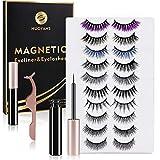 2021 Upgraded 10 Pairs Magnetic Eyelash With Eyeliner, 20 Strong Magnets,Reusable False Lashes Set