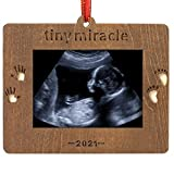 Creawoo Nature Wood Christmas Ornament Baby's First Christmas 2021 Gift Sonogram Picture Frame...
