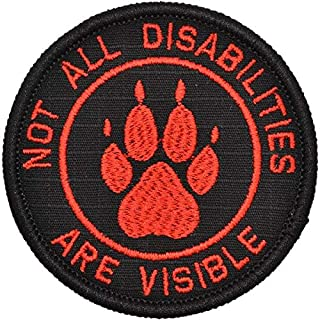 Not All Disabilities are Visible Service Dog - 3 inch Round Patch - Black w/Red
